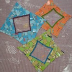 Linda mixes mosaic medallion mounted on mesh for installation