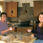 Mother and daughter complete mosaic project using tiles from Clay Squared to Infinity and Mercury Mosaics with help from Bread and Roses Remodeling.